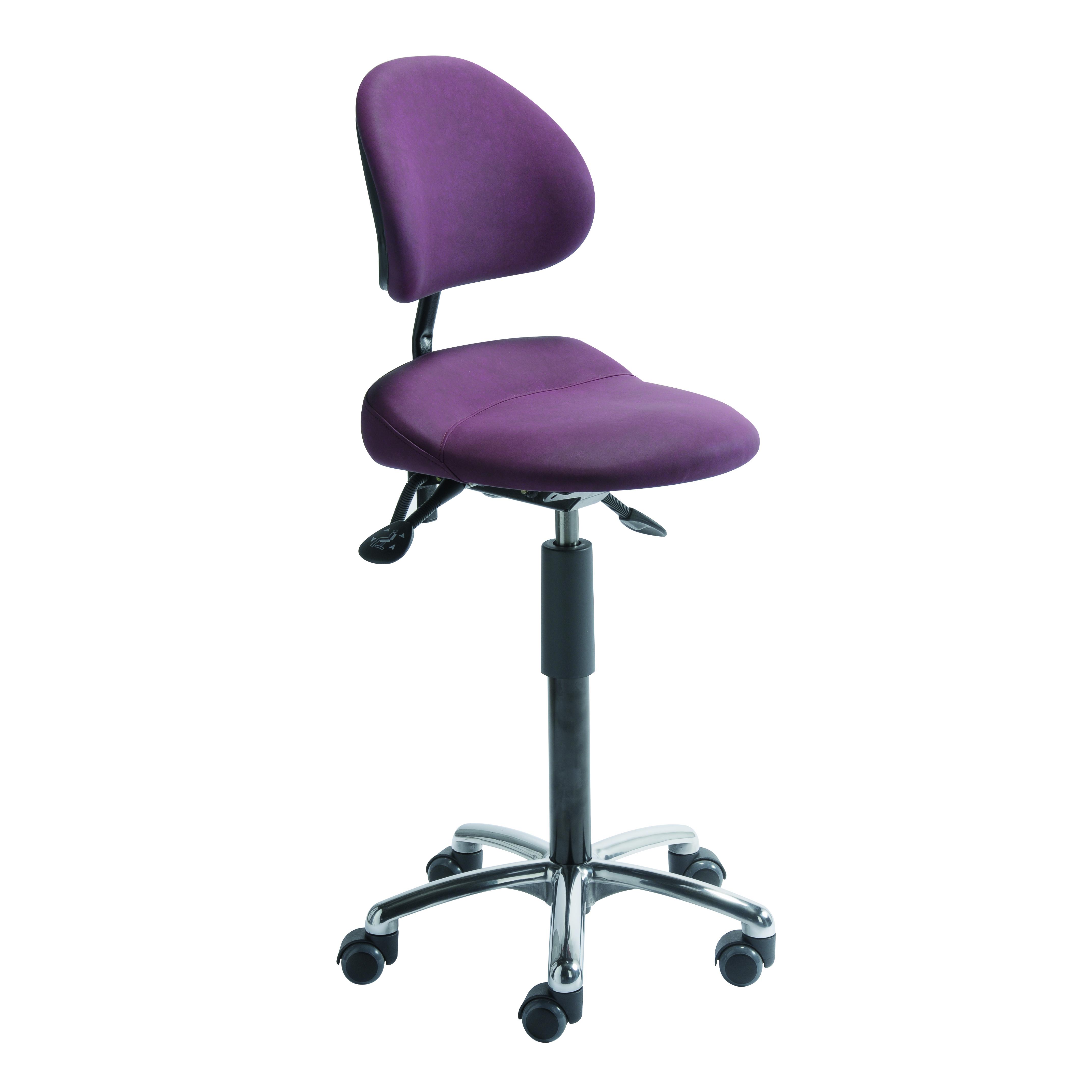 Siège assis et assis-debout ergonomique AURE de siegepro sur roulettes avec maintien sacro-lombaire