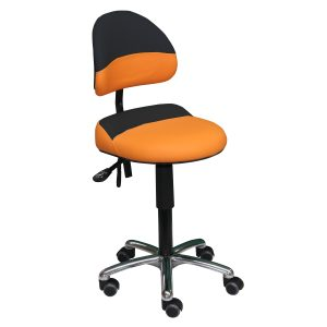 Siège assis-debout bicolore AURE de siegepro orange-noir avec excellent maintien lombaire