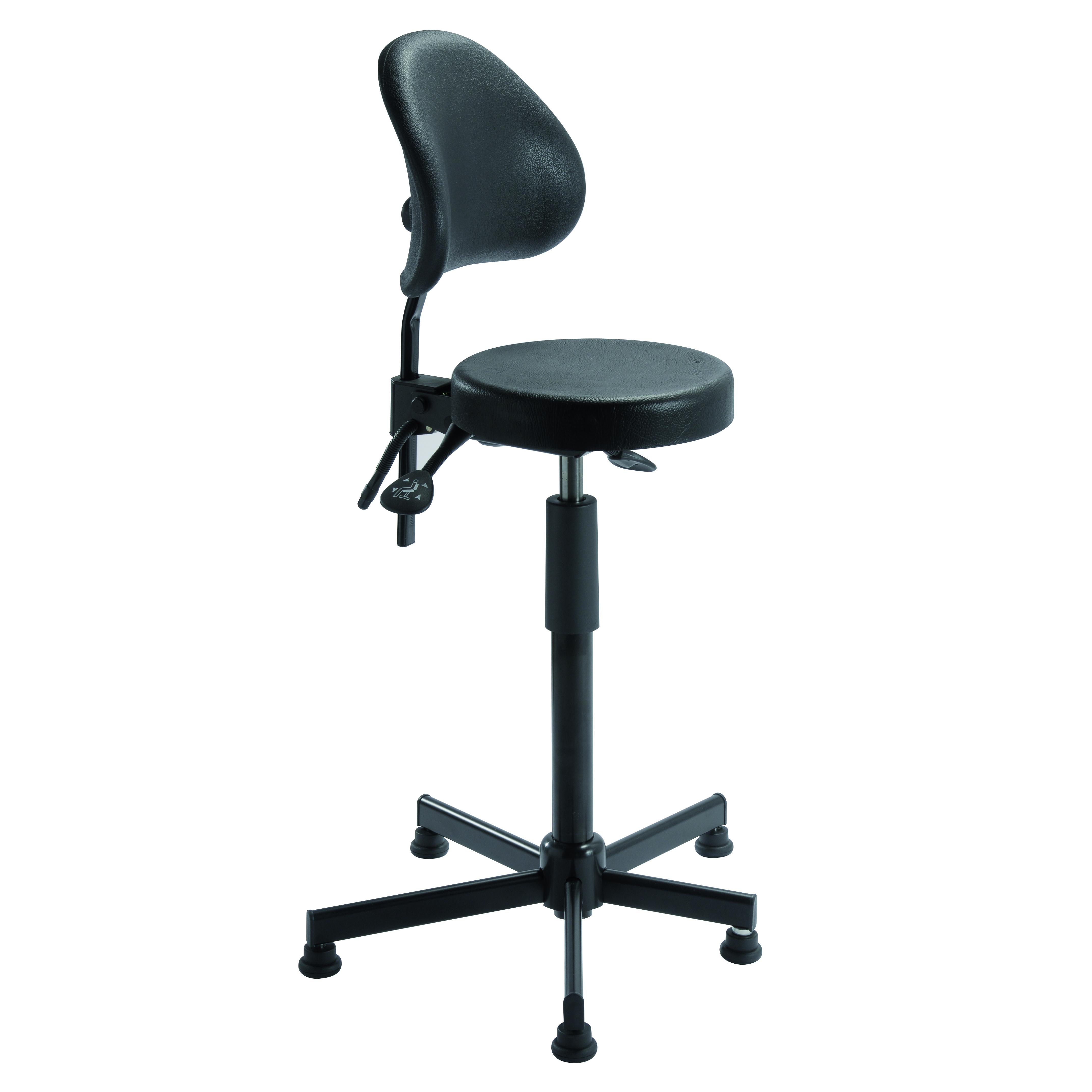 Assis-debout avec dossier lombaire PASSAU et piètement asymétrique pour positionnement aisé des pieds de siegepro.com