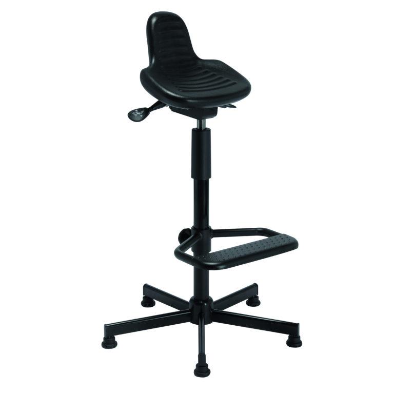 Assis-debout avec repose-pieds et piètement acier PILSEN de siegepro.com