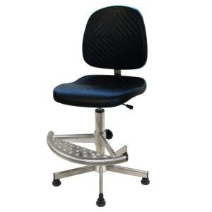 Le siège inox ergonomique INTERLAKEN de siegepro.com avec un mécanisme asynchrone inox et équipé de patins antiglisse