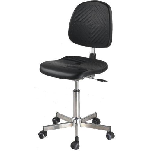 Le siège inox ergonomique INTERLAKEN de siegepro.com avec un mécanisme asynchrone inox et équipé de roulettes sols durs