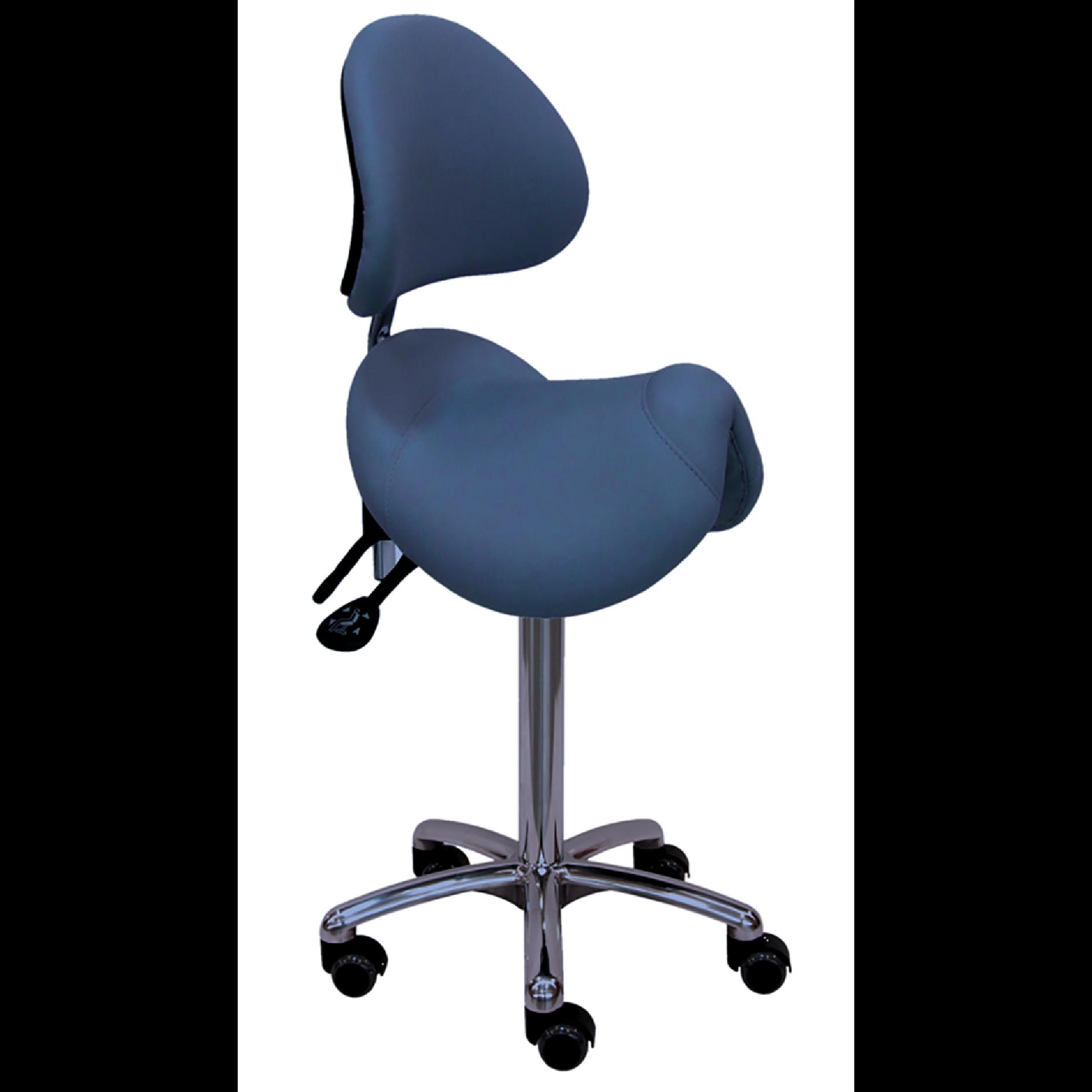 Siège selle de cheval IOWA bleu avec assise large suspendue par ressorts linéaires