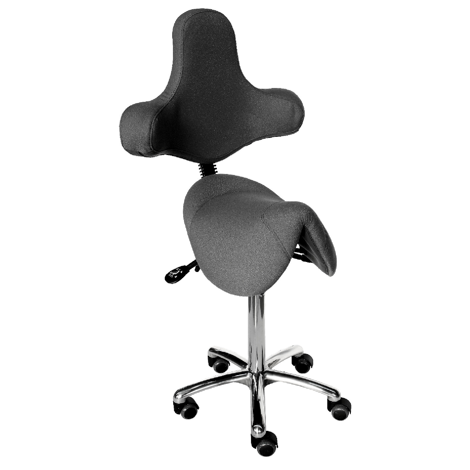 Le siège selle TEXAS asynchrone ergonomique grand confort est une innovation de siegepro.com avec sa selle large suspendue par ressorts et son dossier original avec accoudoirs intégrés