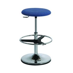 Le tabouret design ACTUAL de siegepro.com avec assise standard coloris bleu vérin haut et repose-pieds