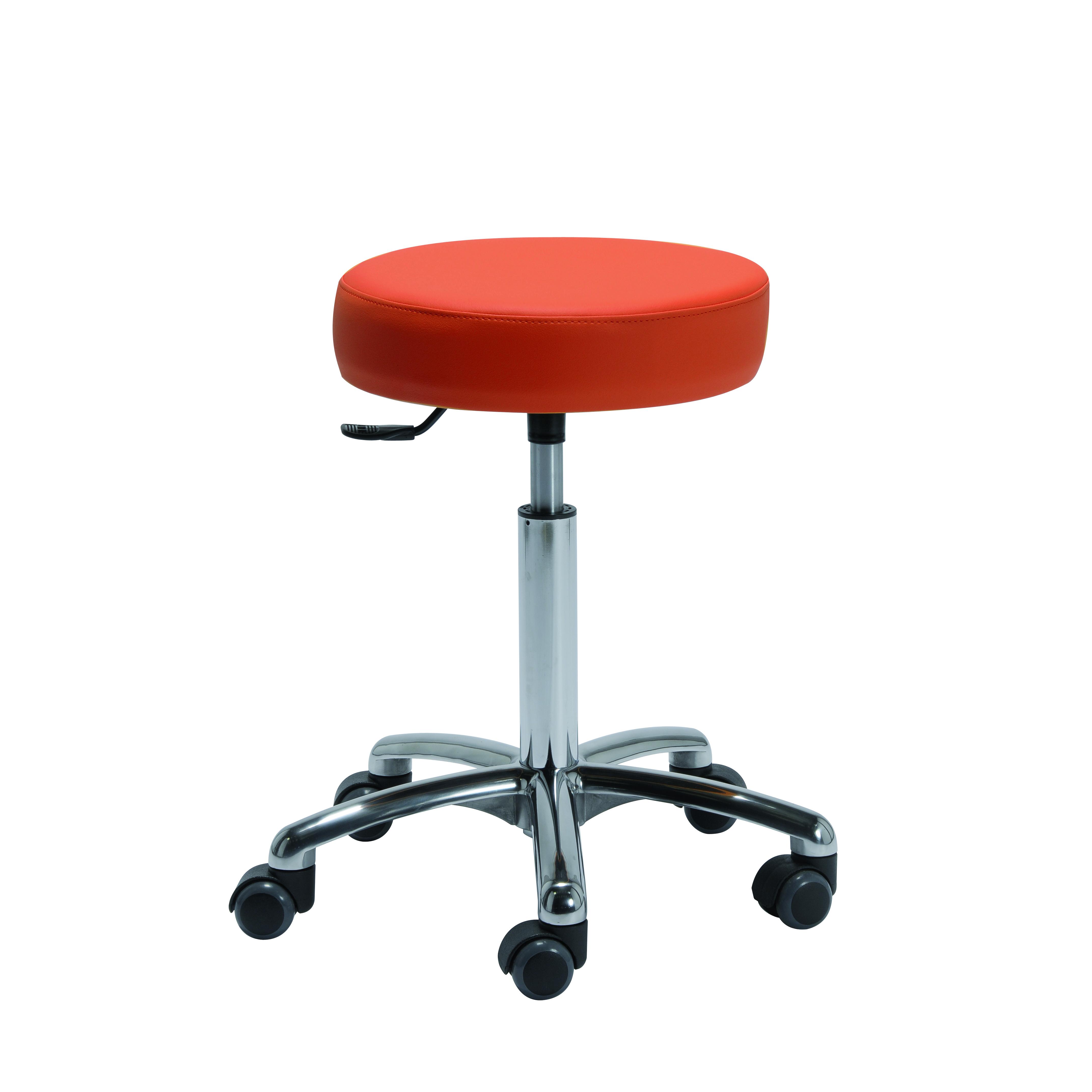 Tabouret pour espace de travail réduit TARBES de siegepro.com sur roulettes avec assise confort vinyle rouge